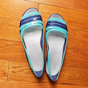 Crocs Blue and Turquoise Sandals Size 8
